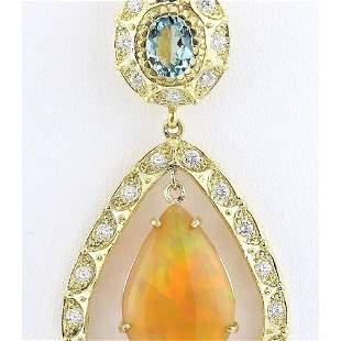 13.14 CTW Natural Opal, Aquamarine Diamond Pendant 14k