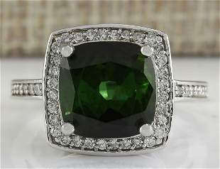 7.22 CTW Natural Tourmaline And Diamond Ring 14K Solid