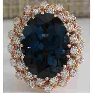 14.31 CTW Natural London Blue Topaz And Diamond Ring