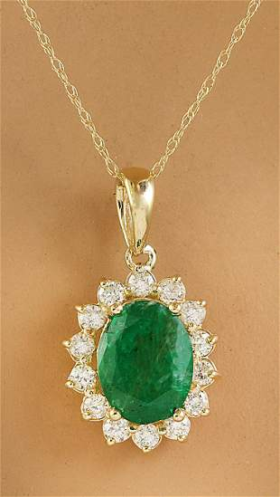 1.88 CTW Emerald 18K Yellow Gold Diamond Pendant