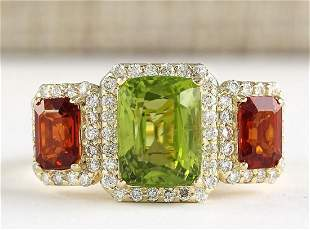 5.85 CTW Natural Peridot And Sapphire Diamond Ring In