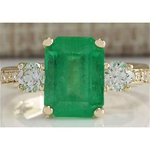 4.70 CTW Natural Colombian Emerald And Diamond Ring 14K
