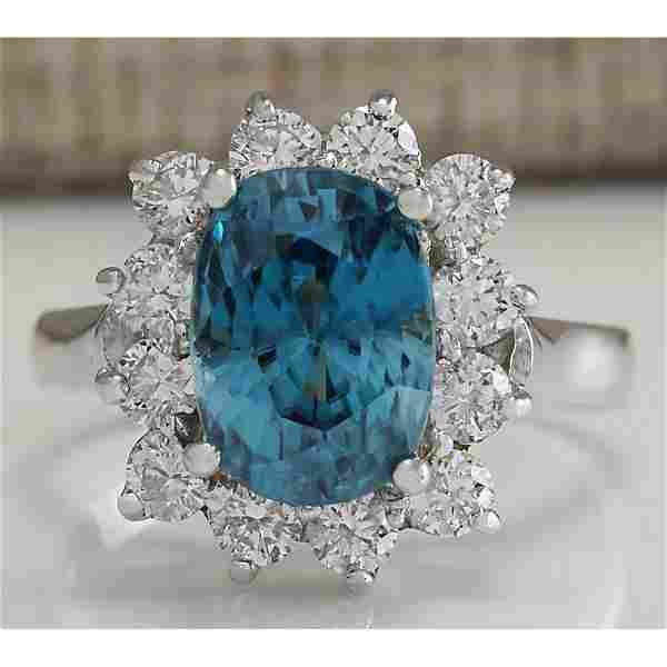 6.07 CTW Natural Blue Zircon And Diamond Ring 14K Solid