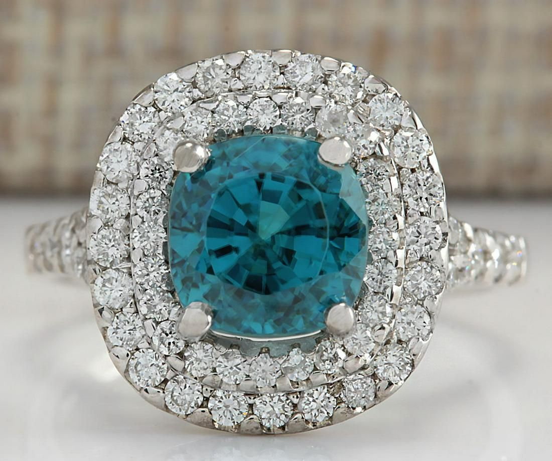 5.94 CTW Natural Blue Zircon And Diamond Ring 18K Solid