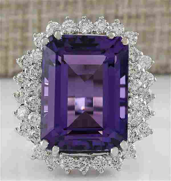 15.12 CTW Natural Amethyst And Diamond Ring In 14K