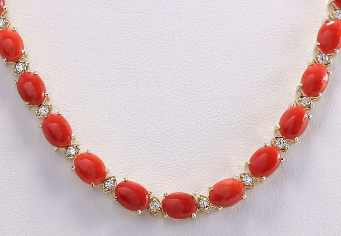 42.82 CTW Natural Red Coral And Diamond Necklace In 14K