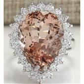 13.43 CTW Natural Peach Morganite And Diamond Ring In