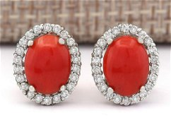 2.95 CTW Natural Coral And Diamond Earrings 14k Solid