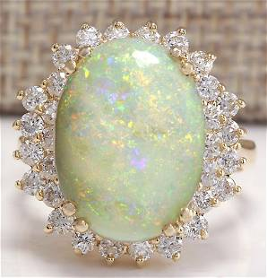 6.31 CTW Natural Australian Opal And Diamond Ring 18K
