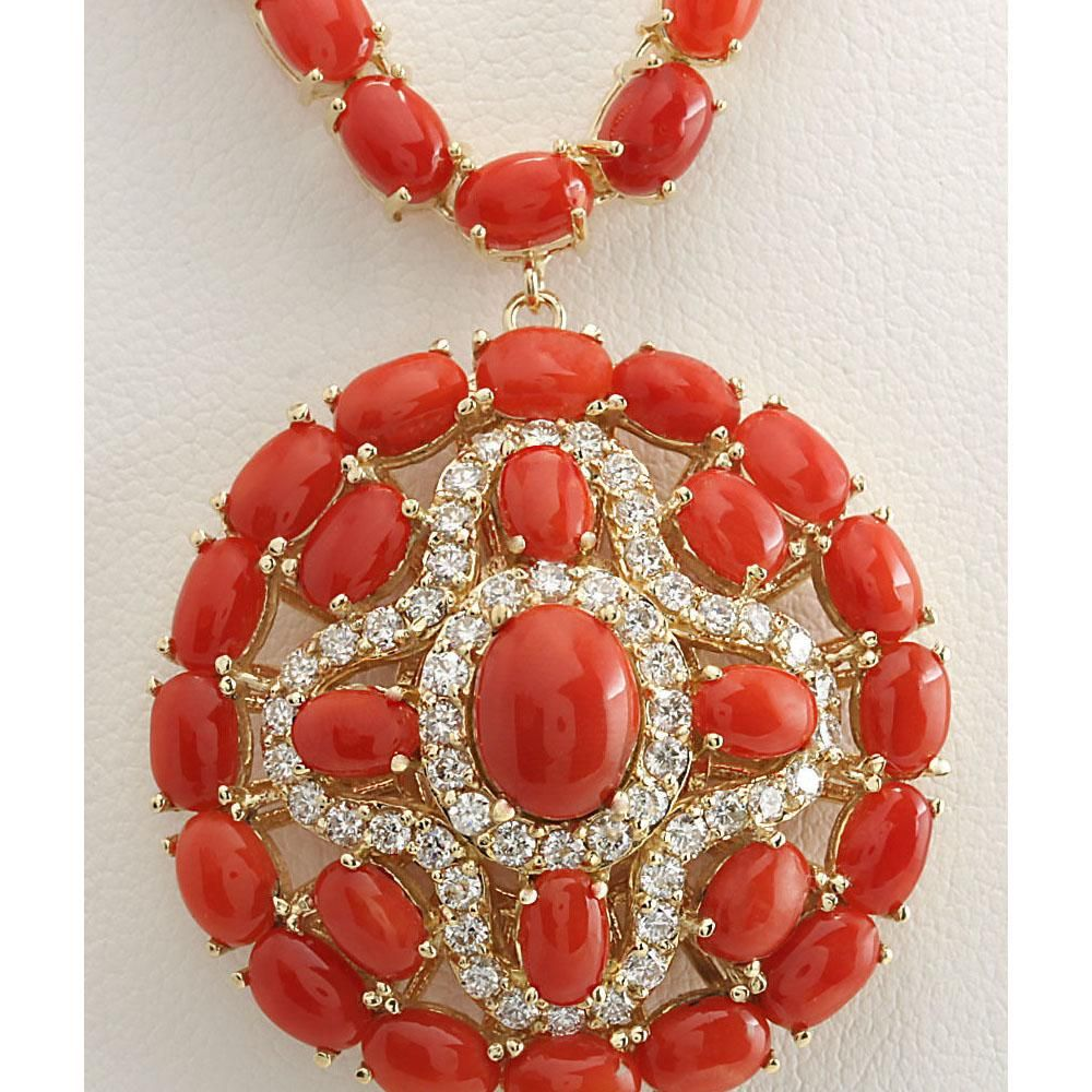 45.00 CTW Natural Red Coral And Diamond Necklace In 14K