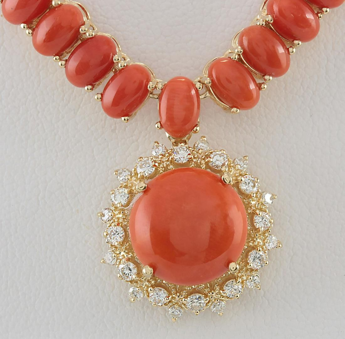 63.65 CTW Natural Red Coral And Diamond Necklace In 14K
