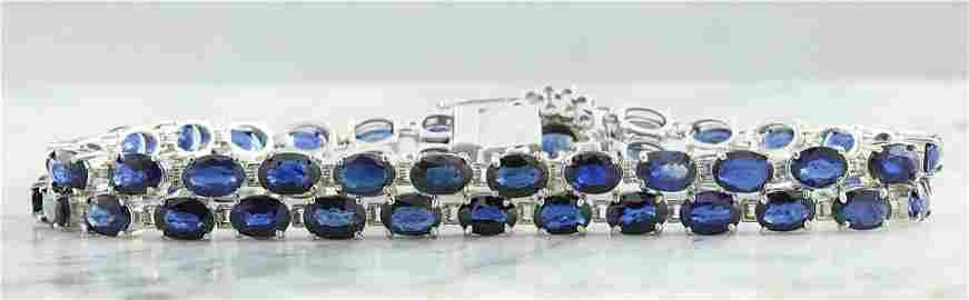 28.22 CTW Sapphire 14K White Gold Diamond Bracelet
