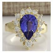 3.33 CTW Natural Blue Tanzanite And Diamond Ring 18K