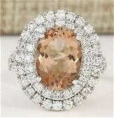 5.12 CTW Natural Morganite And Diamond Ring In 18K