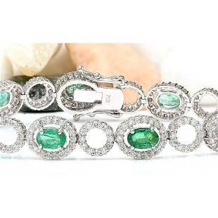 6.98 CTW Natural Emerald 18K Solid White Gold Diamond