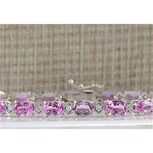 14.10CTW Natural Pink Sapphire And Diamond Bracelet In