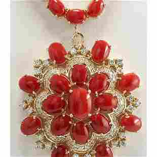 67.80 CTW Natural Red Coral And Diamond Necklace In 14K