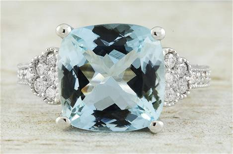6.45 CTW Aquamarine 18K White Gold Diamond Ring
