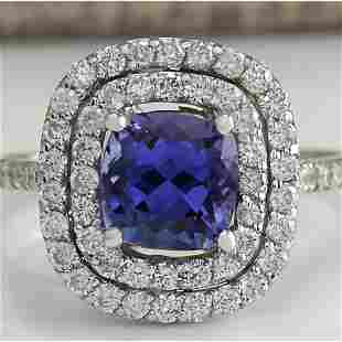 2.45 CTW Natural Blue Tanzanite And Diamond Ring In