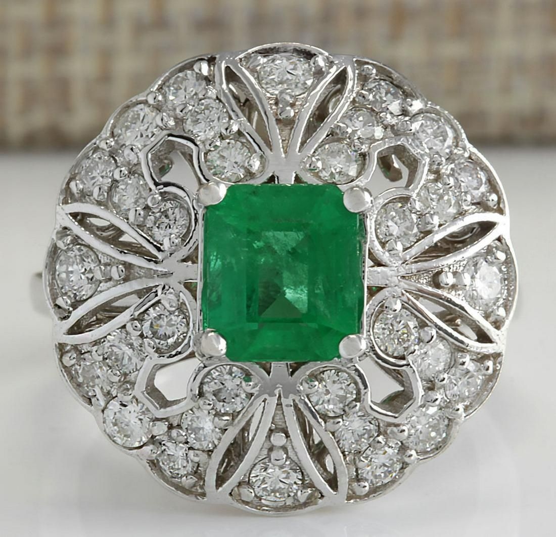 2.45 CTW Natural Emerald Diamond Ring 18K Solid White