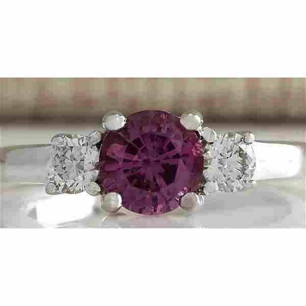 1.70 CTW Natural Pink Ceylon Sapphire Diamond Ring 14k