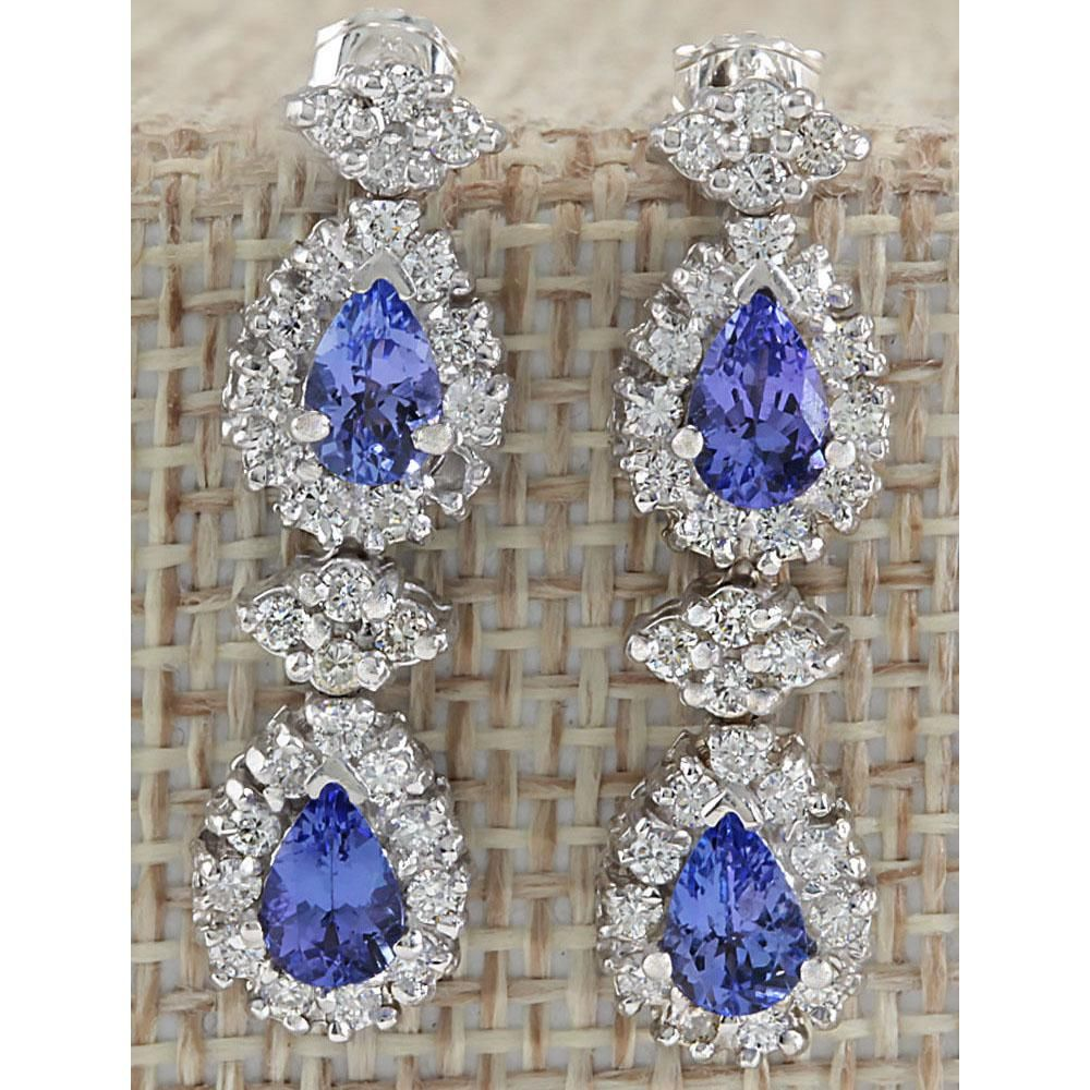 3.16 CTW Natural Blue Tanzanite And Diamond Earrings In