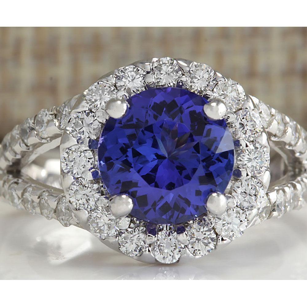 3.86 CTW Natural Tanzanite And Diamond Ring 18K Solid
