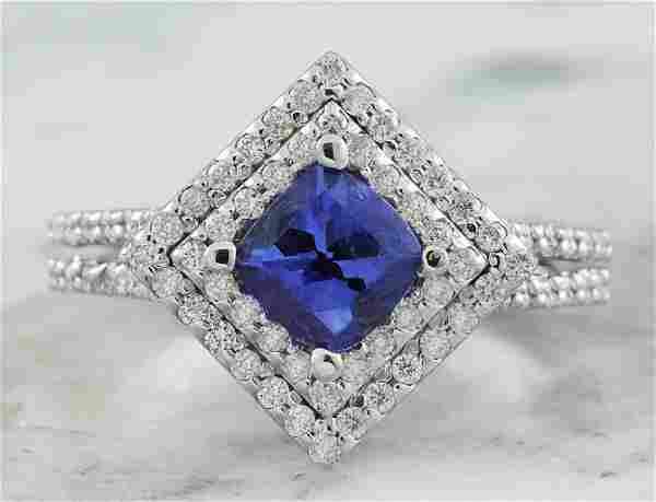 2.00 CTW Tanzanite 14K White Gold Diamond Ring