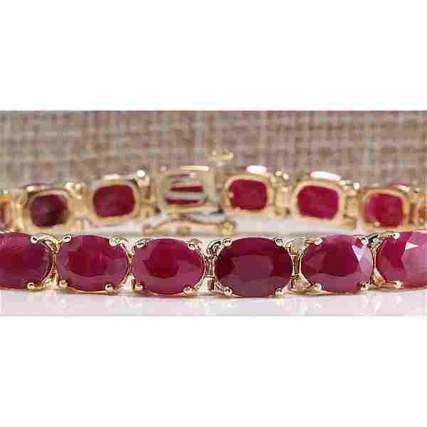 30.89 CTW Natural Red Ruby Bracelet In 18K Yellow Gold