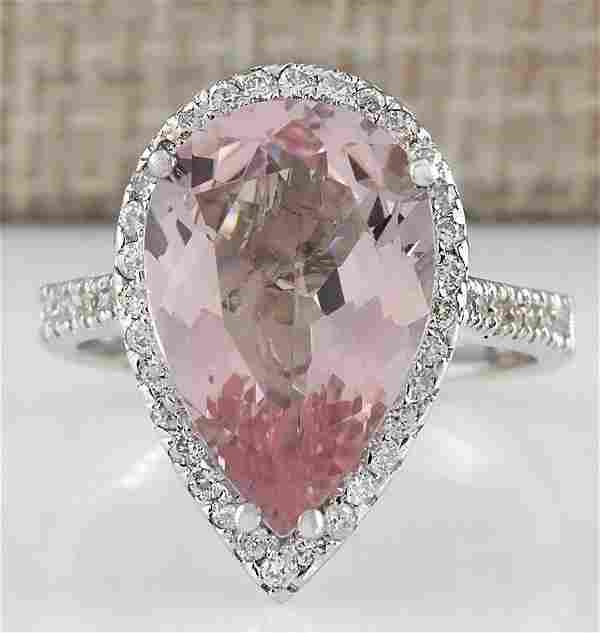 6.82 CTW Natural Morganite And Diamond Ring In 14K