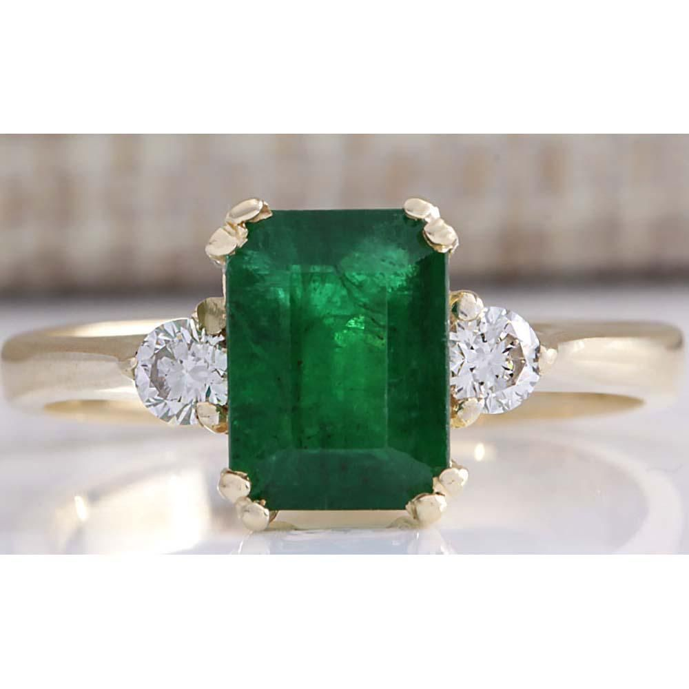 1.94 CTW Natural Emerald And Diamond Ring 18K Solid