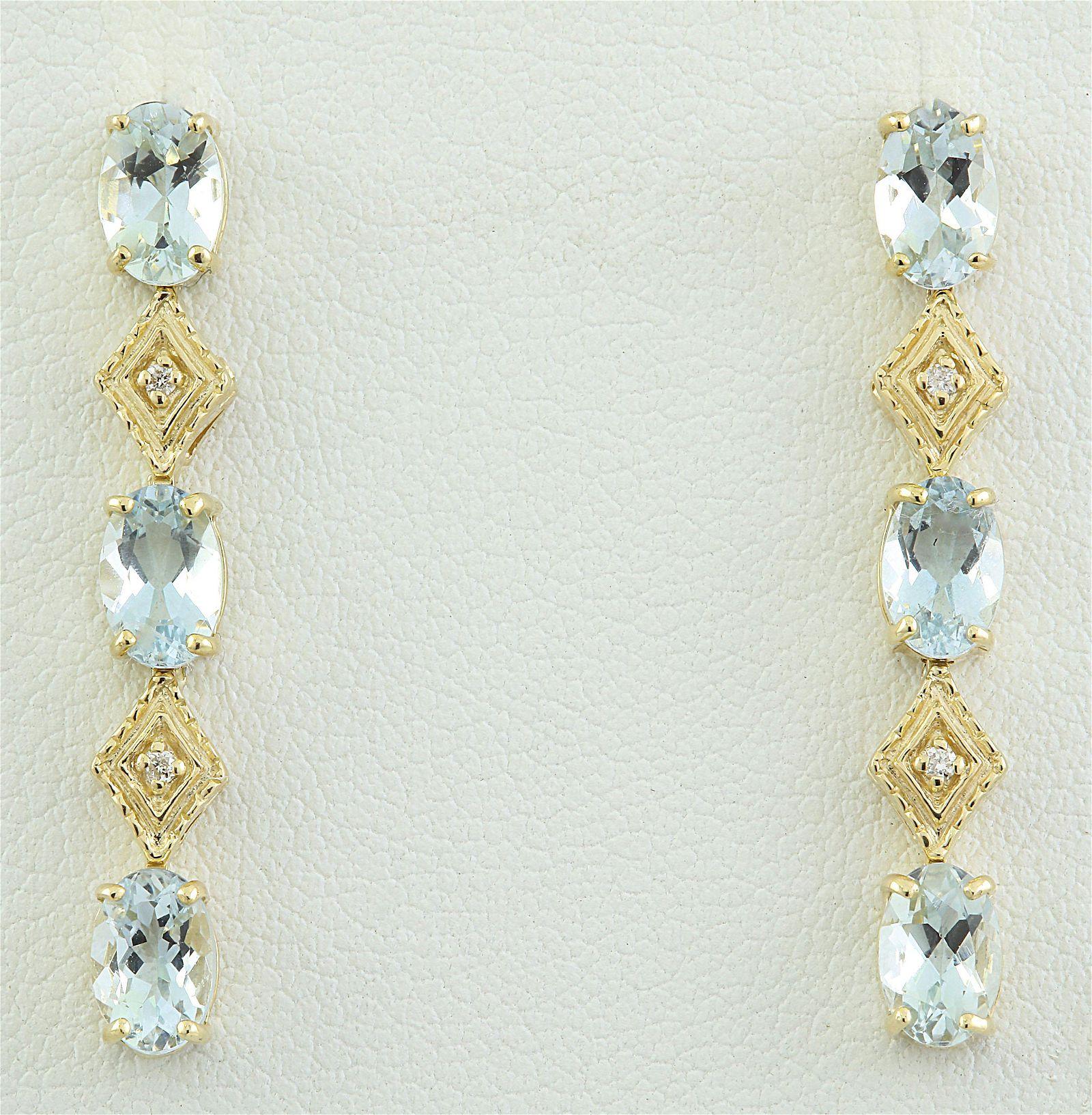 2.65 CTW Aquamarine 18K Yellow Gold Diamond Earrings