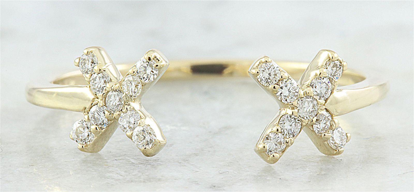 0.10 CTW Diamond 14K Yellow Gold Double X Open Front