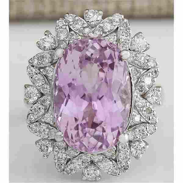 12.00 CTW Natural Kunzite And Diamond Ring In 14k White
