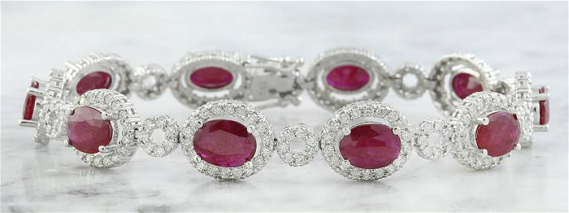 14.50 CTW Ruby 14K White Gold Diamond Bracelet
