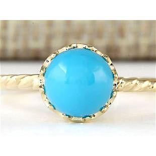 1.50 CTW Natural Turquoise Ring In 14k Yellow Gold