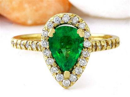 1.50 CTW Natural Emerald 18K Solid Yellow Gold Diamond