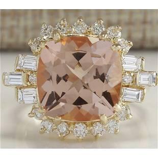 7.23 CTW Natural Morganite And Diamond Ring 18K Solid