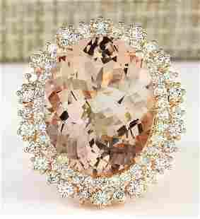 15.56 CTW Natural Morganite And Diamond Ring In 14k