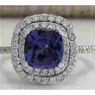 2.95 CTW Natural Tanzanite Diamond Ring 14K Solid White