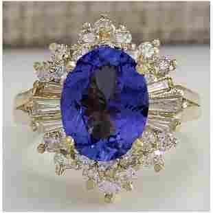 4.62 CTW Natural Blue Tanzanite And Diamond Ring 18K