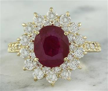 3.30 CTW Ruby 18K Yellow Gold Diamond Ring