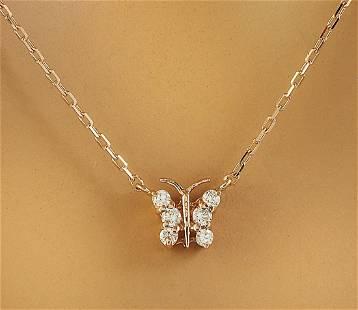 0.20 CTW Diamond 18K Rose Gold Necklace
