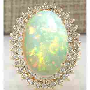 10.38 CTW Natural Opal And Diamond Ring 18K Solid