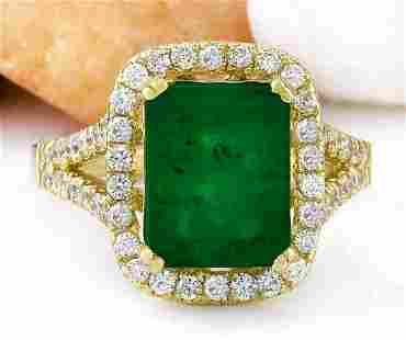 4.47 CTW Natural Emerald 18K Solid Yellow Gold Diamond