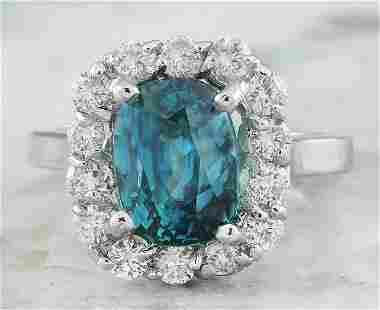 6.95 CTW Zircon 14K White Gold Diamond Ring