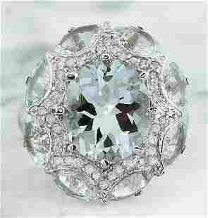 8.00 CTW Aquamarine 14K White Gold Diamond Ring