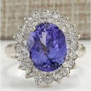 6.18 CTW Natural Blue Tanzanite And Diamond Ring 18K