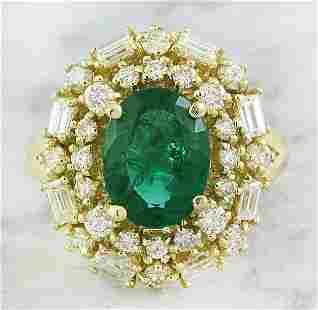 3.73 CTW Emerald 18K Yellow Gold Diamond Ring