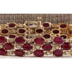38.13 CTW Natural Ruby And Dimond Bracelet In 18K Solid